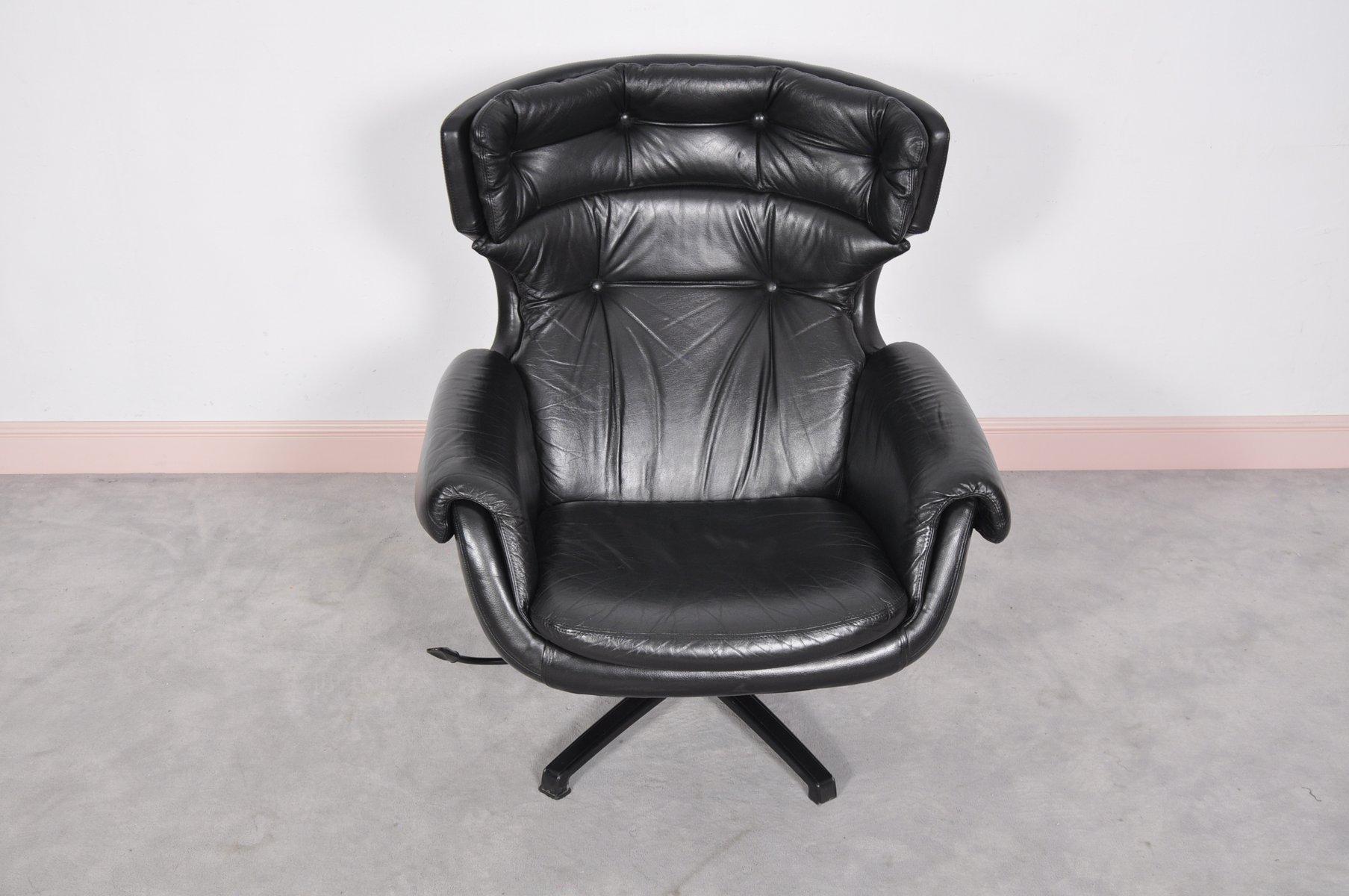 Mid century modern swedish black leather swivel lounge for Black leather modern chair