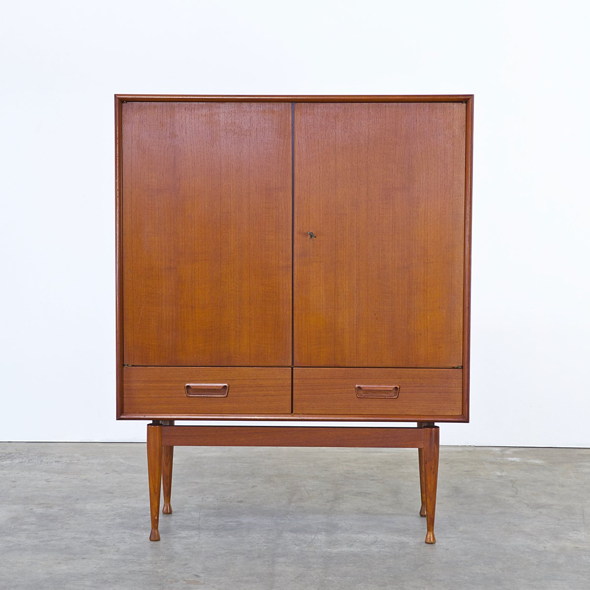 Teak Cabinet With Two Doors And Two Drawers, 1960s