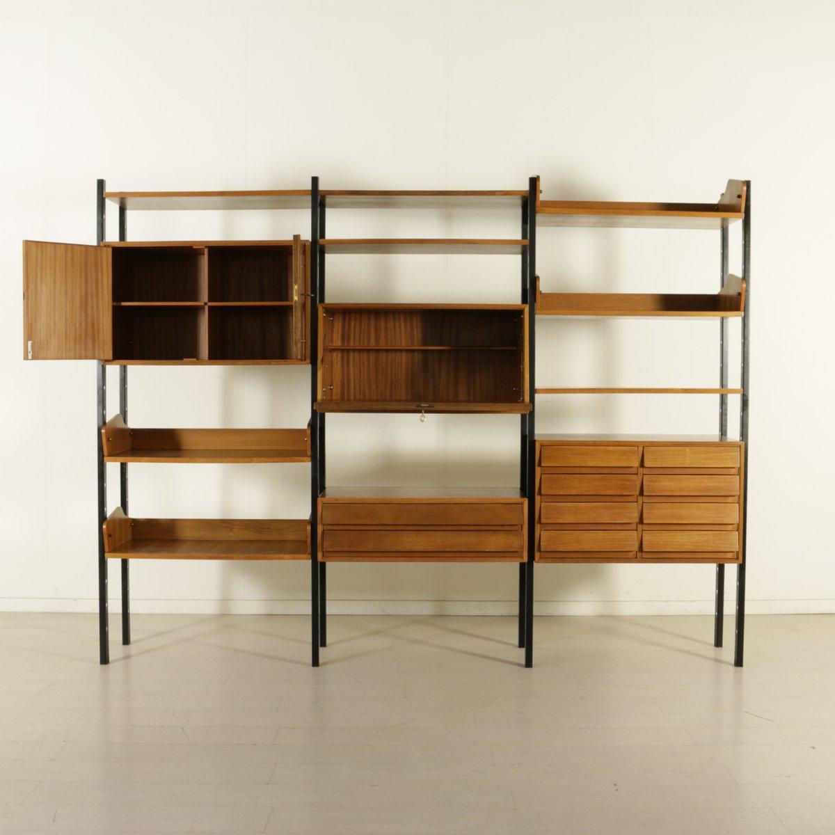 biblioth que vintage avec l ments ajustables en m tal et placage acajou en vente sur pamono. Black Bedroom Furniture Sets. Home Design Ideas