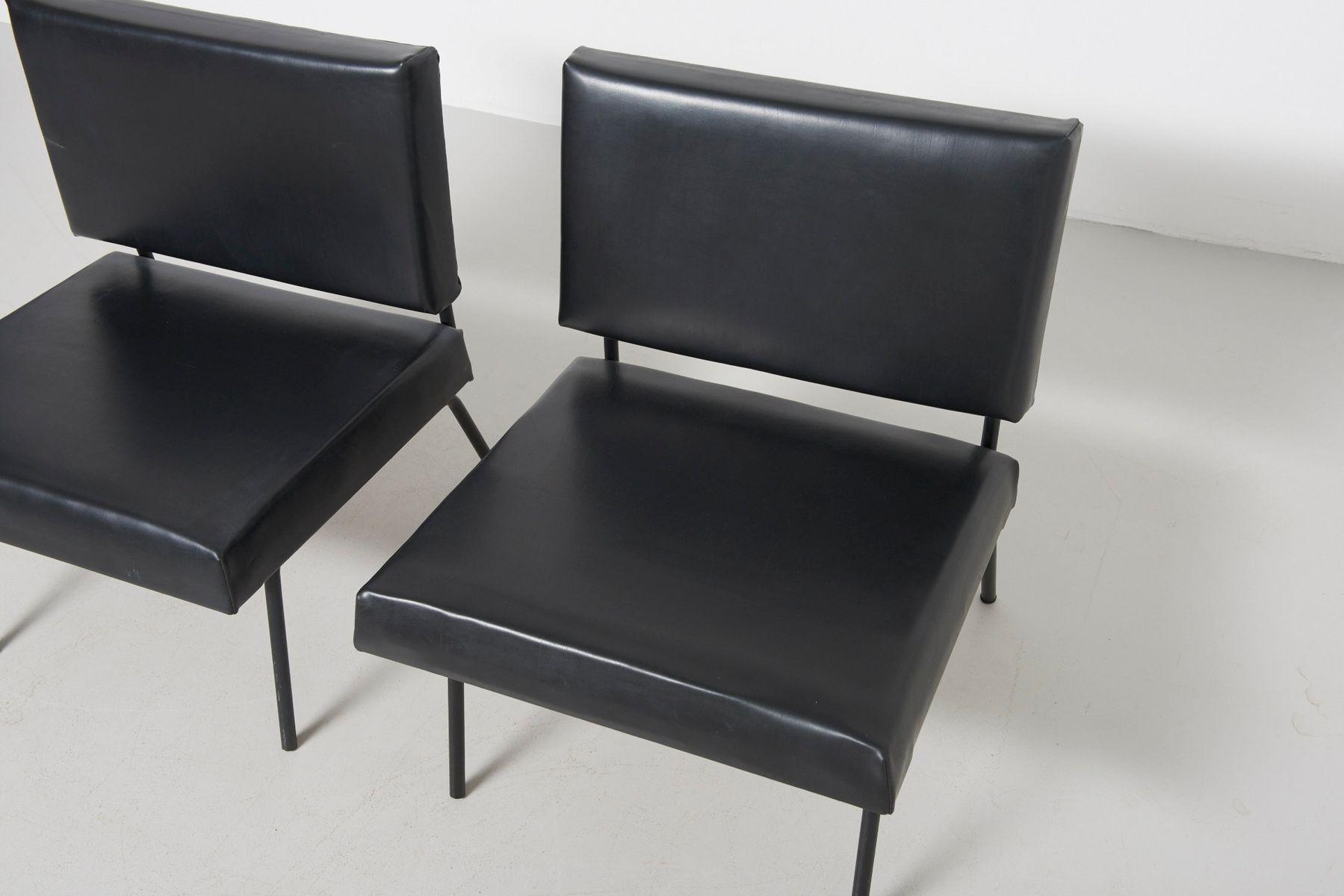 st hle aus schwarzem skai leder von florence knoll f r knoll 1950er 2er set bei pamono kaufen. Black Bedroom Furniture Sets. Home Design Ideas