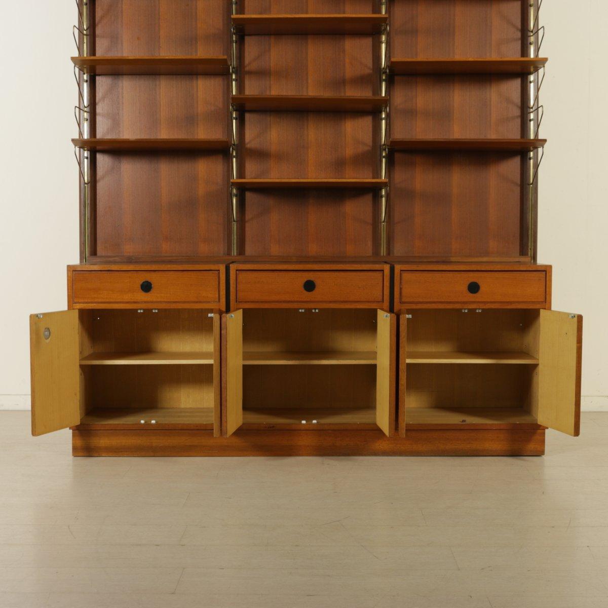 Bibliothèque en Placage de Bois de Teck et Laiton, 1960s  ~ Placage Bois Suisse