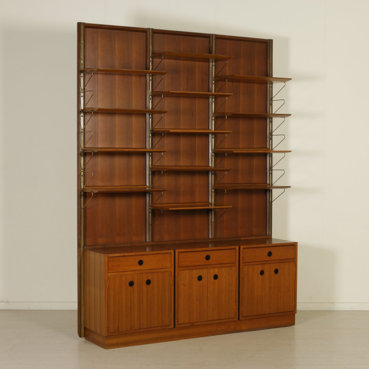 biblioth que en placage de bois de teck et laiton 1960s. Black Bedroom Furniture Sets. Home Design Ideas