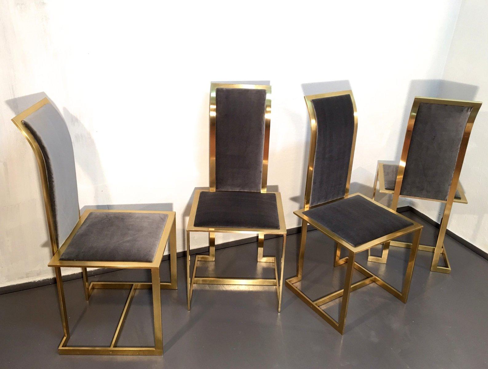 MidCentury Italian Brass and Velvet Dining Chairs Set of 4 for