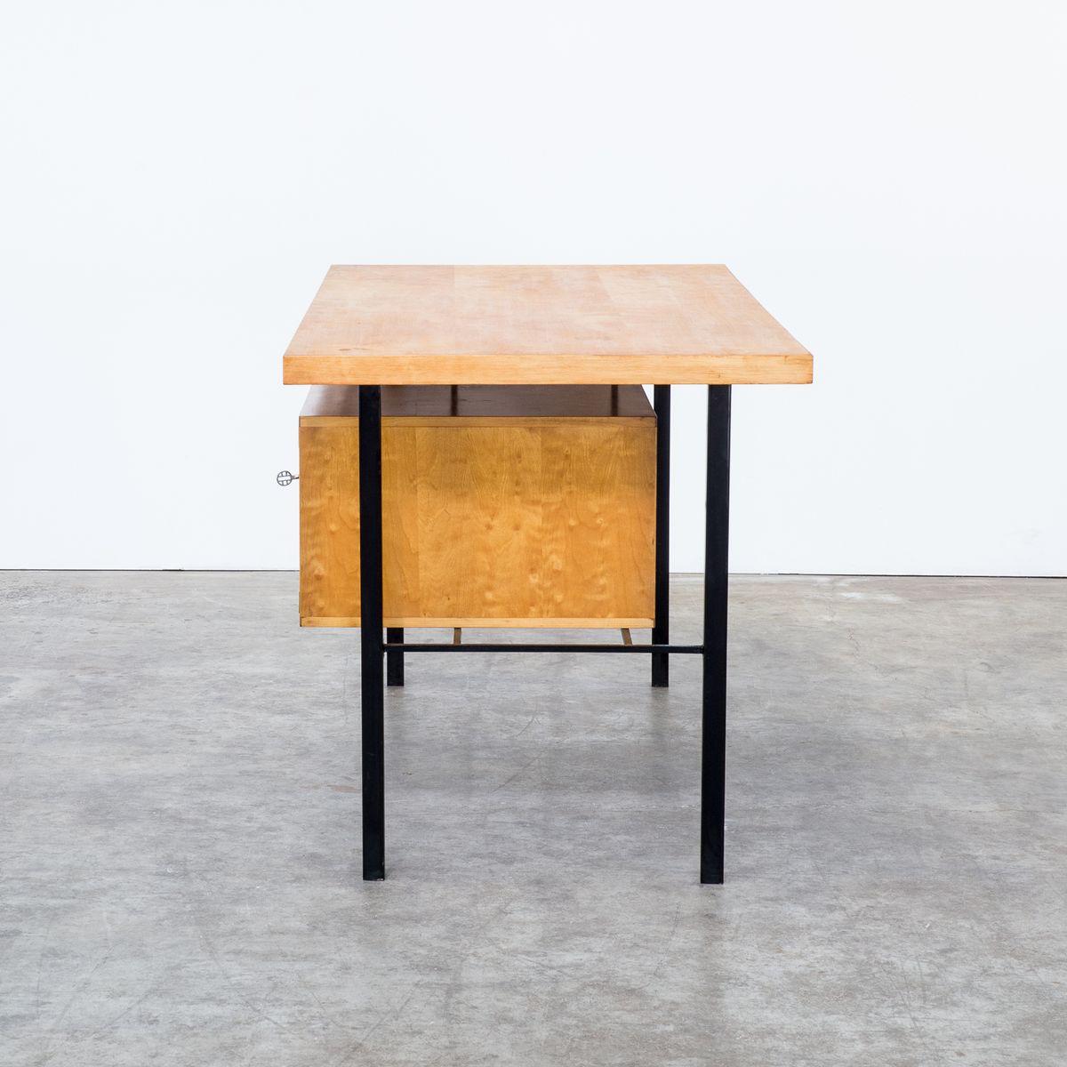 bureau en bouleau avec cadre en acier 1970s en vente sur pamono. Black Bedroom Furniture Sets. Home Design Ideas