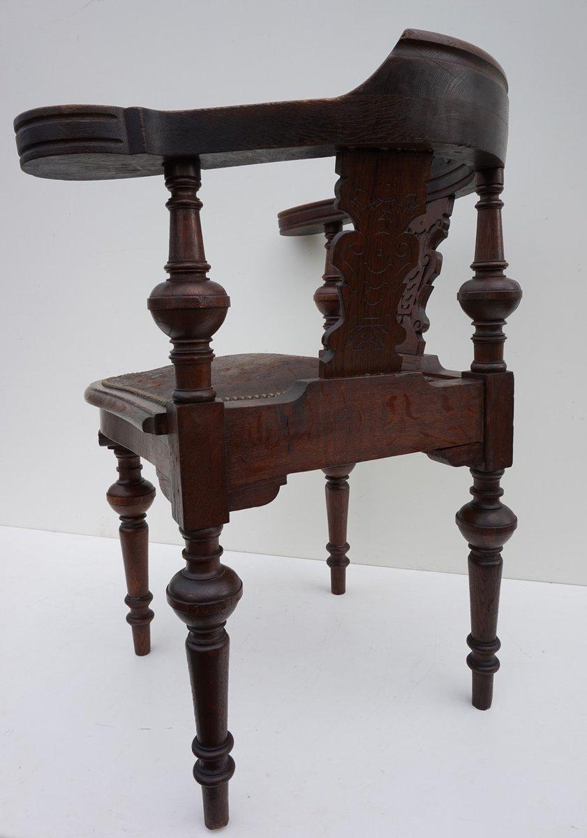 Chaise d angle vintage en ch ne sculpt 19 me si cle en for Chaise 19eme siecle