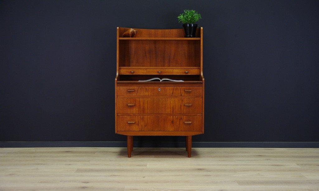 d nischer teak sekret r mit drei schubladen 1960er bei. Black Bedroom Furniture Sets. Home Design Ideas