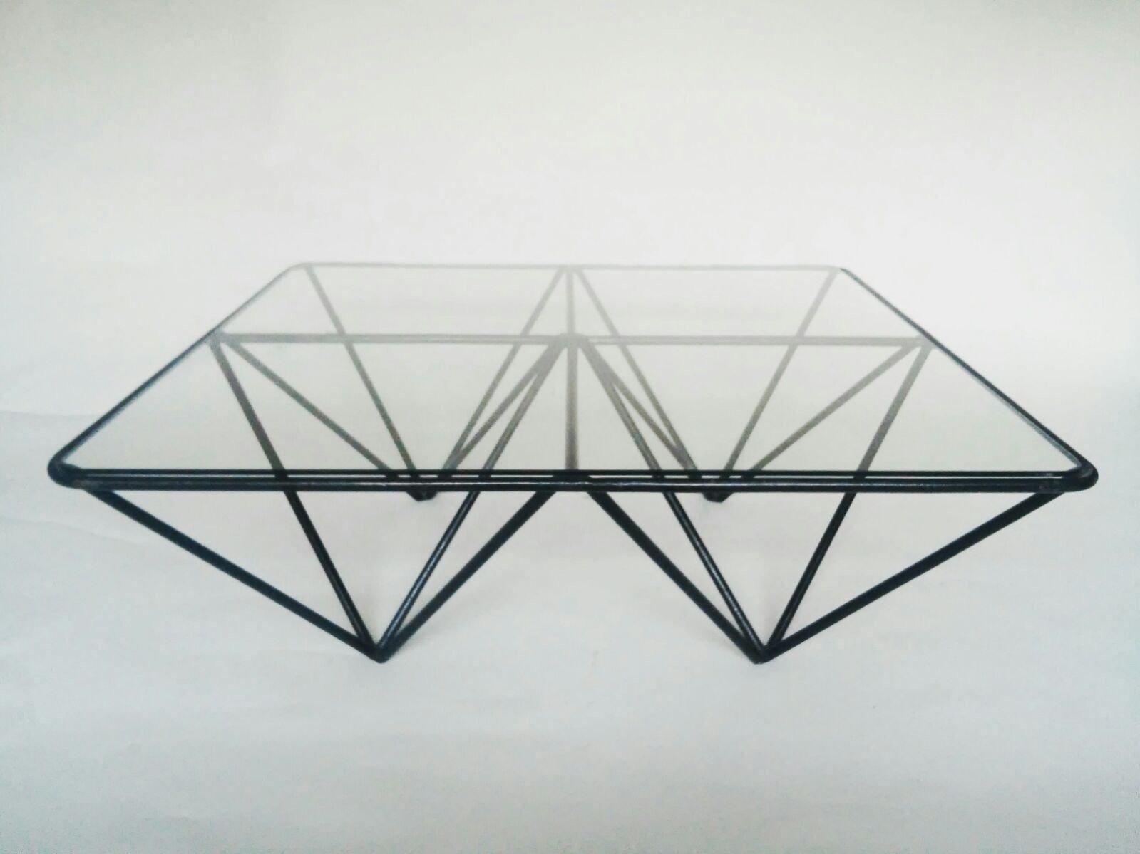 Grande table basse vintage en fer et verre italie 1980s for Grande table en verre
