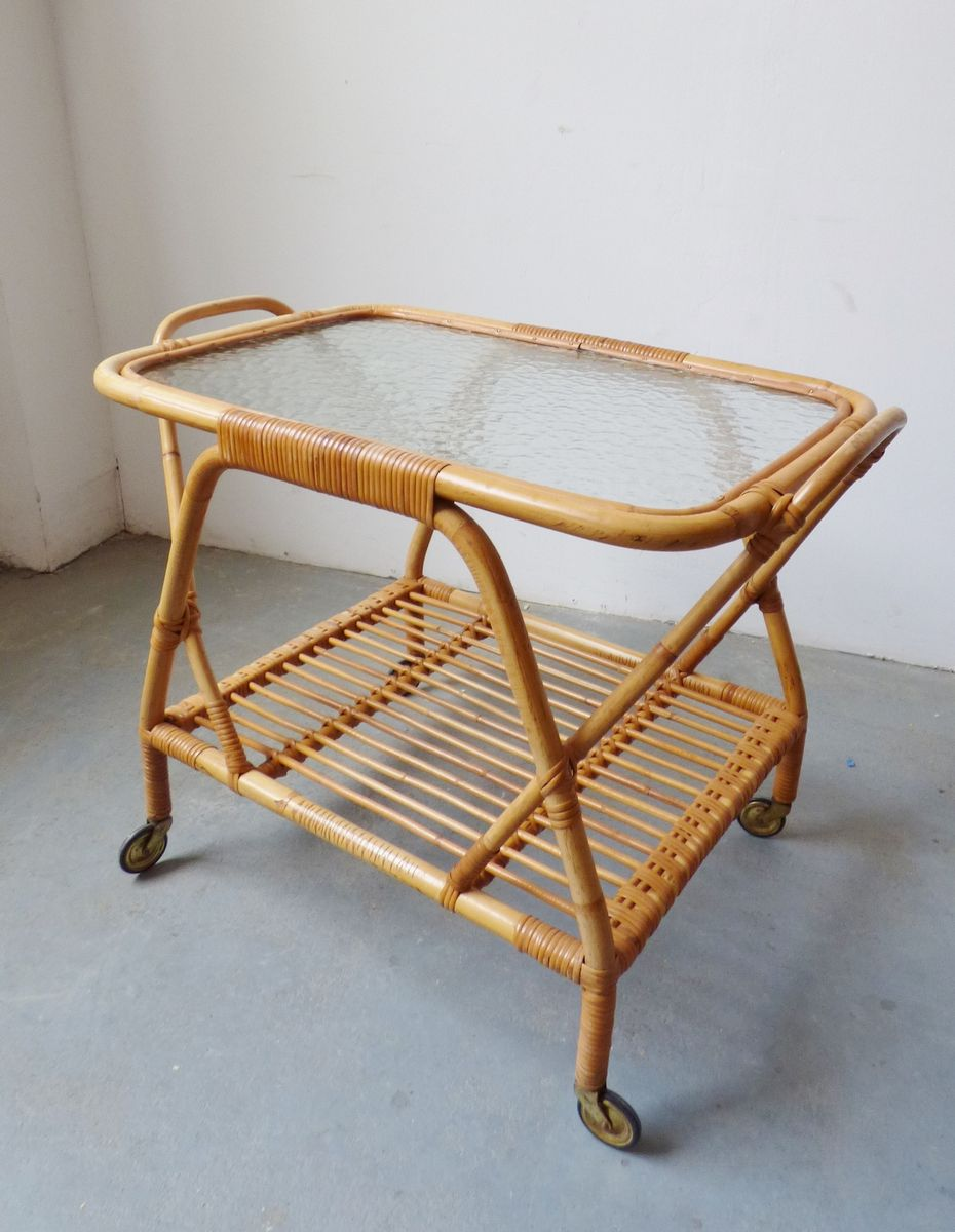 Vintage Bamboo Serving Trolley
