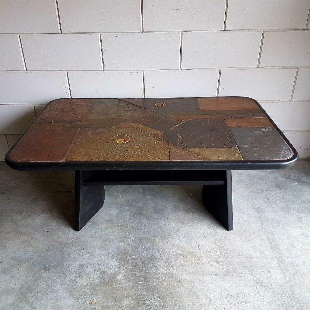 vintage brutalist stone coffee table, 1980s for sale at pamono