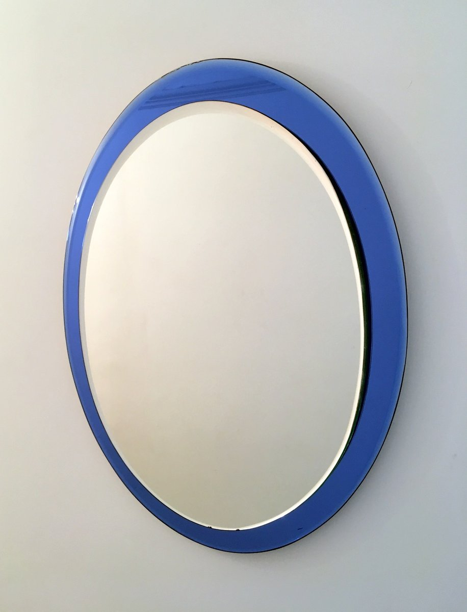 Italian mirror with blue glass frame for sale at pamono for Glass and mirror company