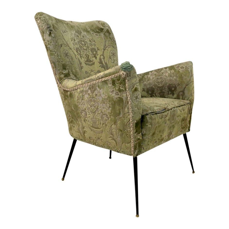 Chaise vintage avec pieds en laiton slender italie en for Chaise 1 pied