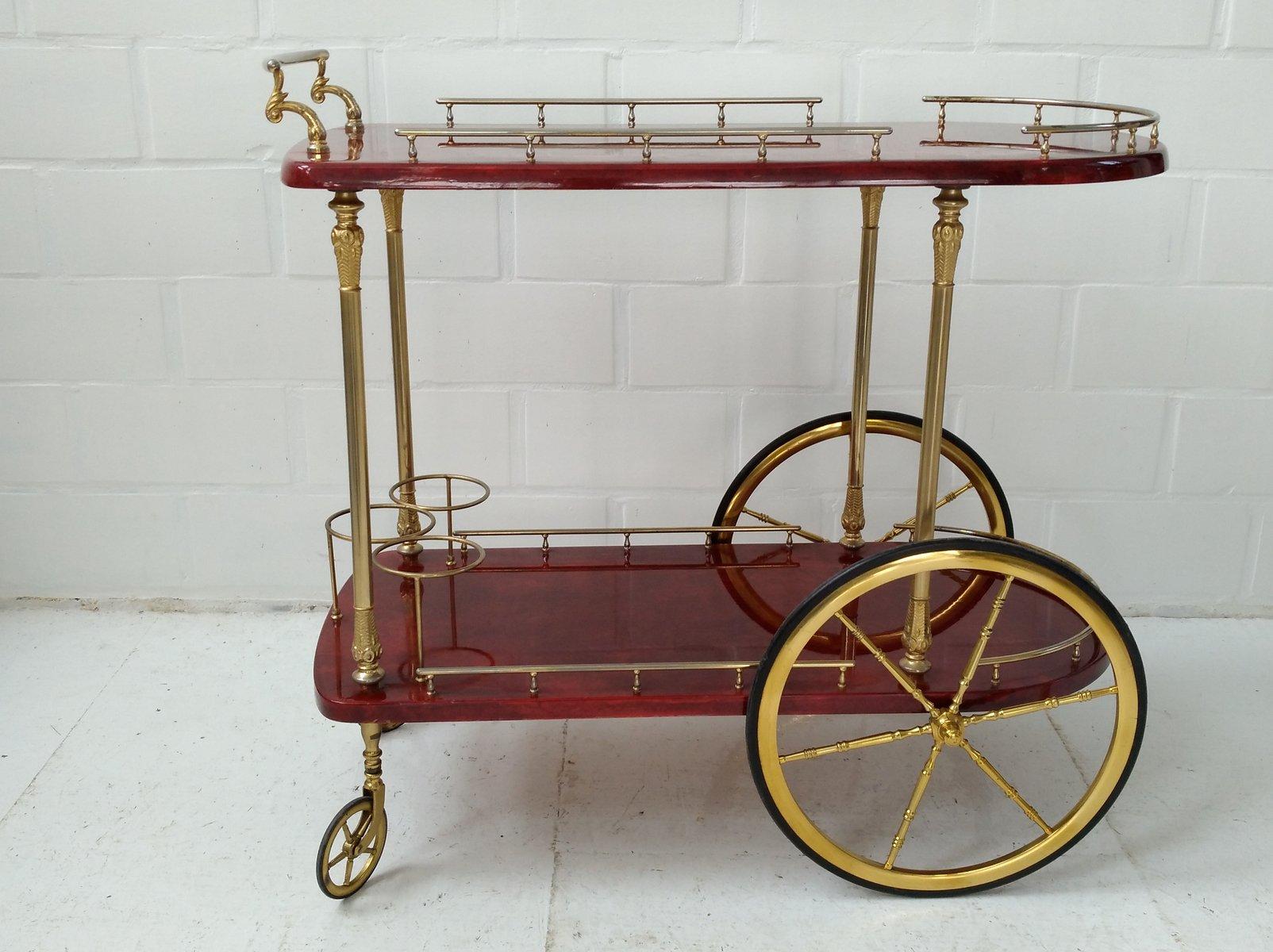 chariot de bar en peau de ch vre rouge par aldo tura pour tura milano italie 1950s en vente. Black Bedroom Furniture Sets. Home Design Ideas