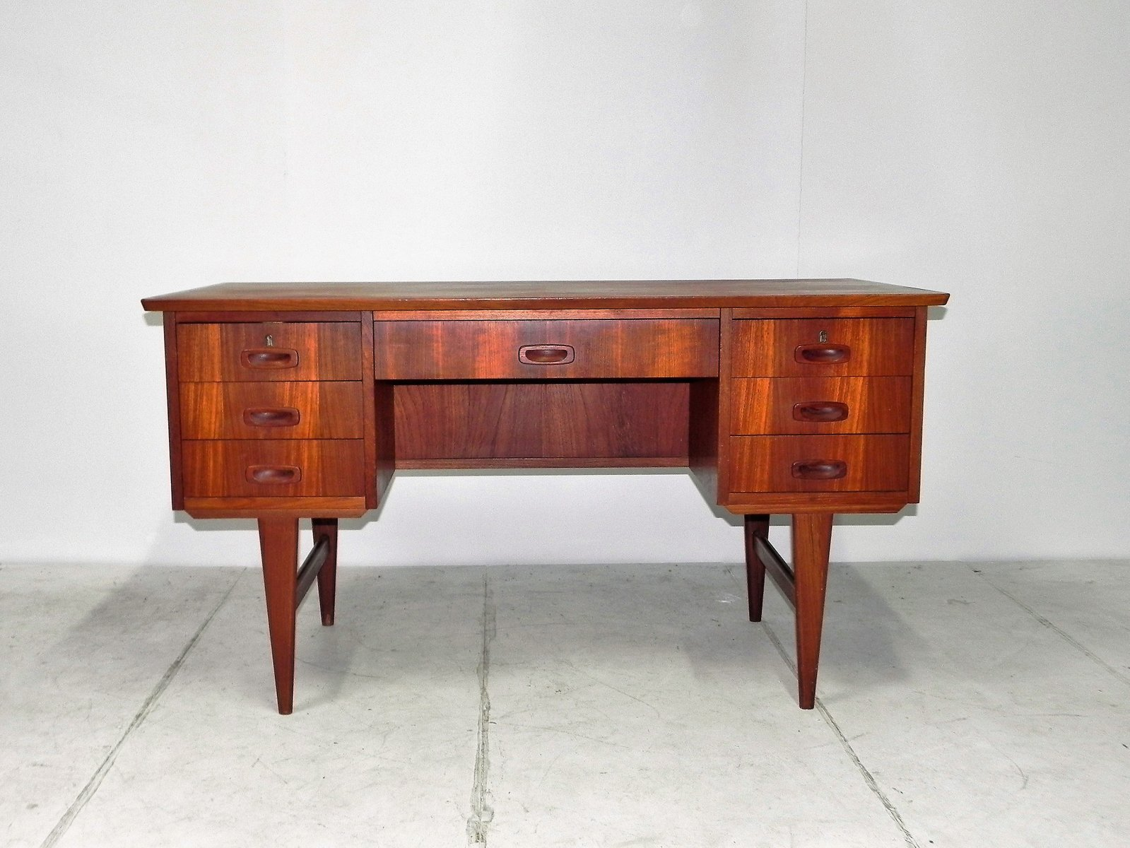 Scandinavian Desks vintage scandinavian desk in teak with two compartments for sale