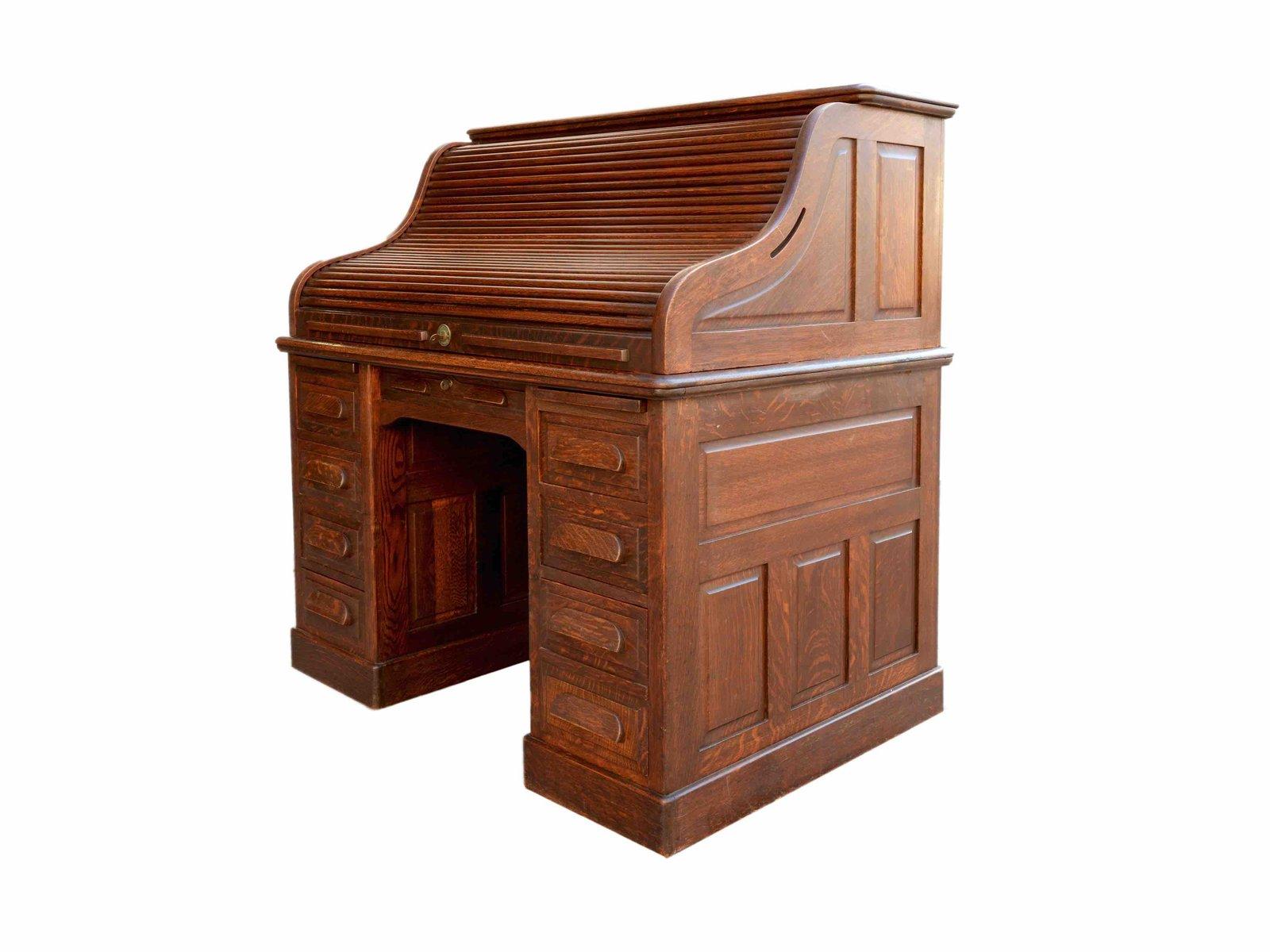 amerikanischer eiche schreibtisch mit rollt r 1940er bei pamono kaufen. Black Bedroom Furniture Sets. Home Design Ideas