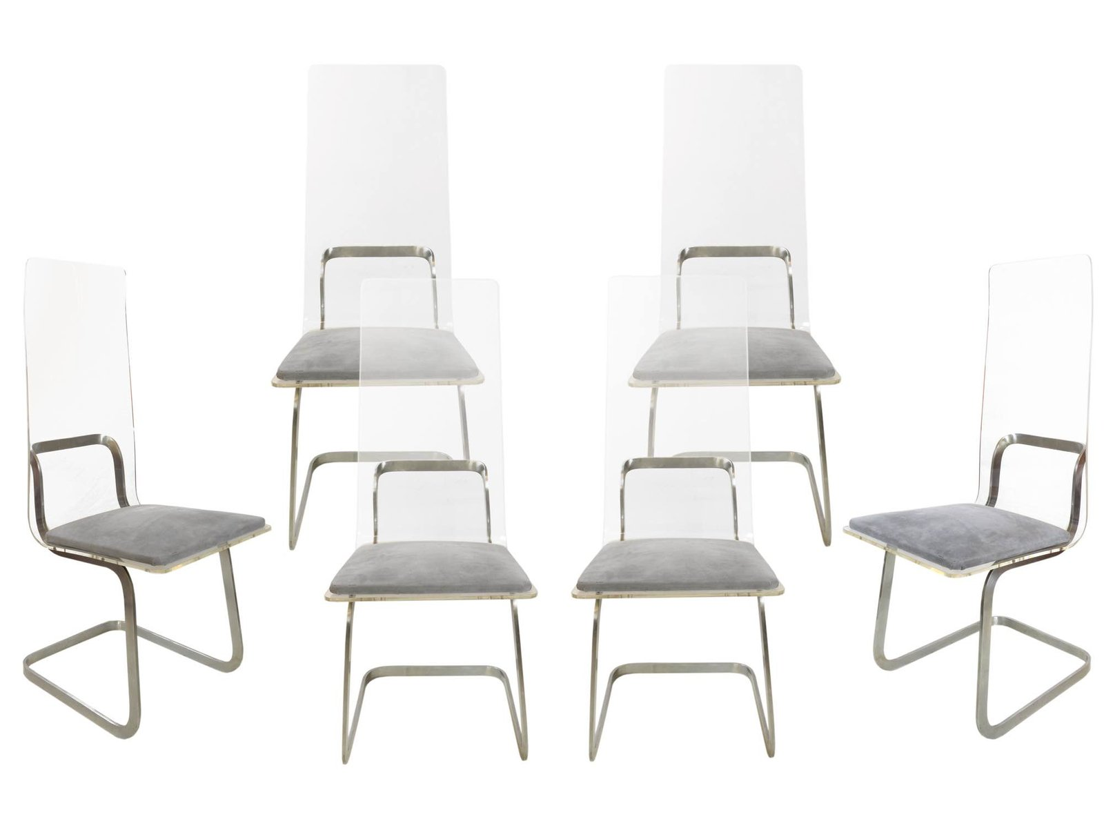 Metal U0026 Plexiglass Chairs By Gary Gutterman, 1970s, Set Of 6