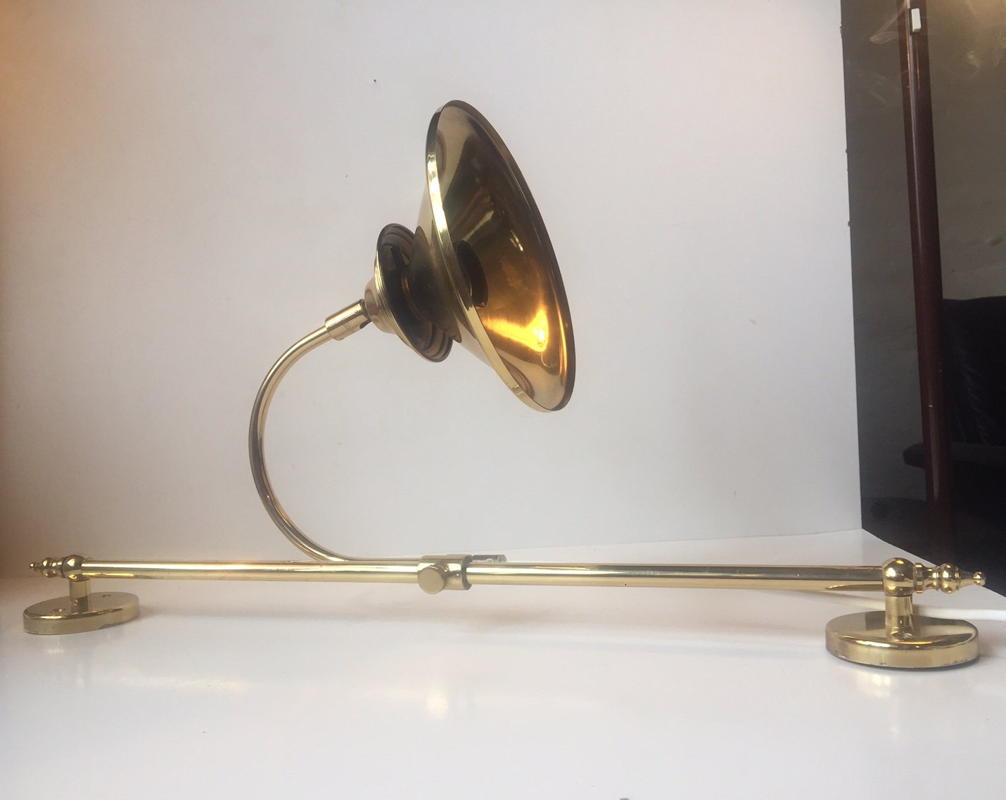 Wall Lamps Adjustable : Large Danish Adjustable Sliding Brass Wall Lamp from Dansa, 1970s for sale at Pamono