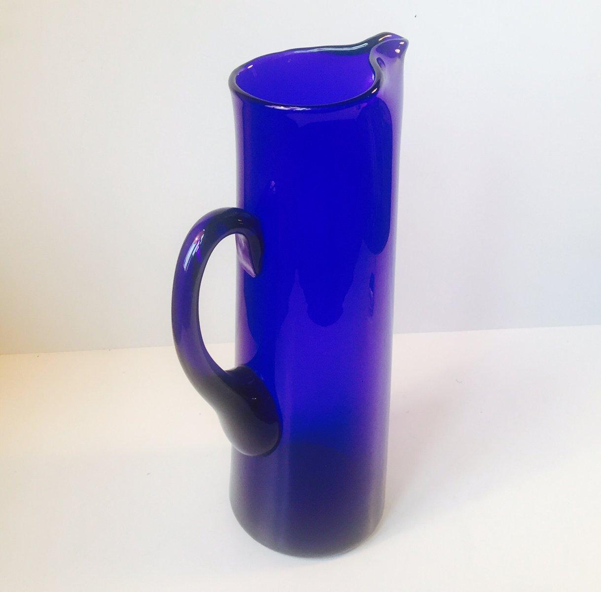 large swedish cobalt blue martini glass pitcher by gunnar ander  - large swedish cobalt blue martini glass pitcher by gunnar ander forlindshammar s