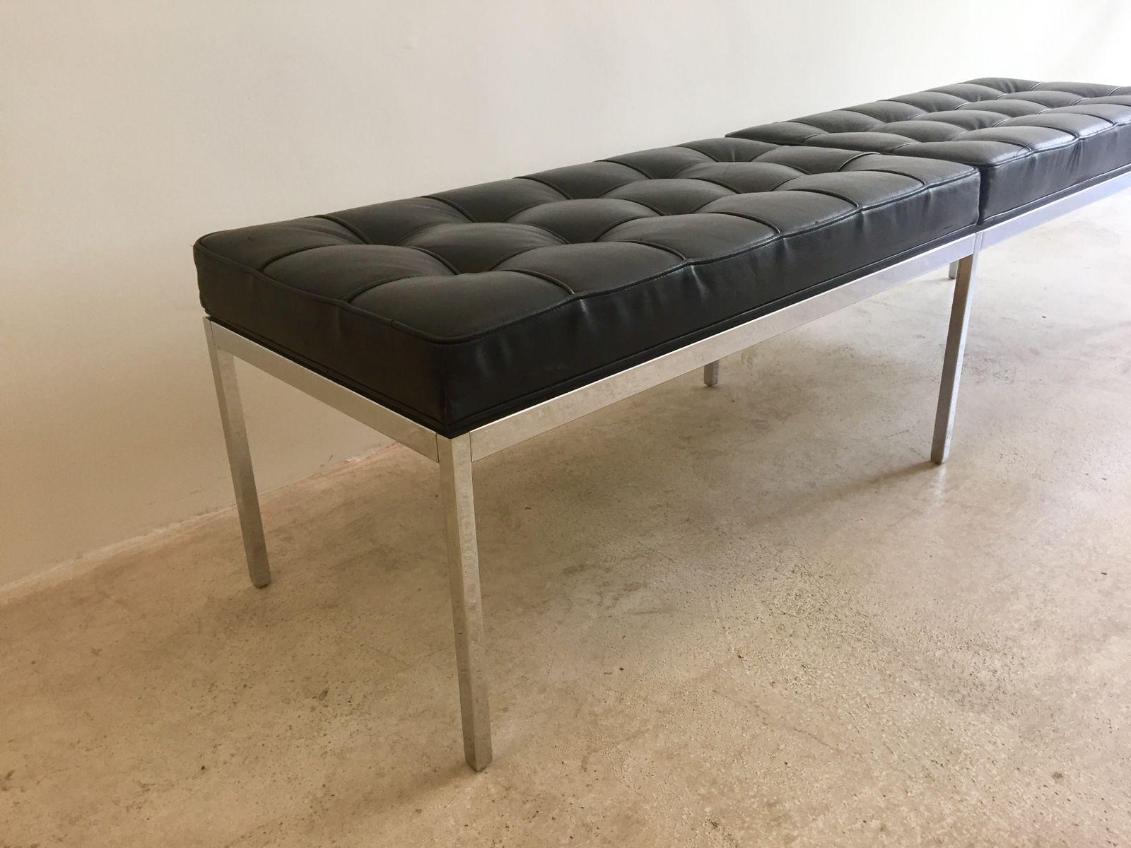banc en cuir chrome par florence knoll pour de coene. Black Bedroom Furniture Sets. Home Design Ideas