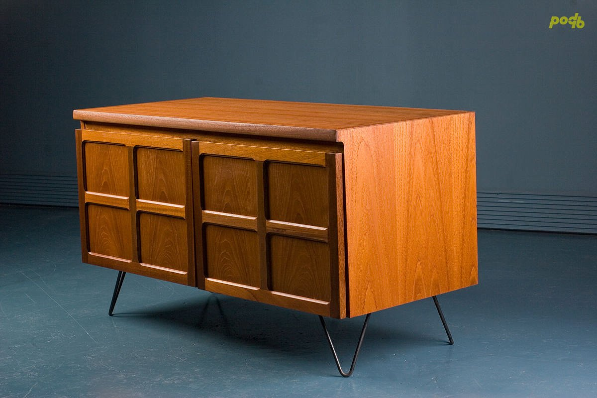 mid century small teak sideboard from parker knoll for. Black Bedroom Furniture Sets. Home Design Ideas