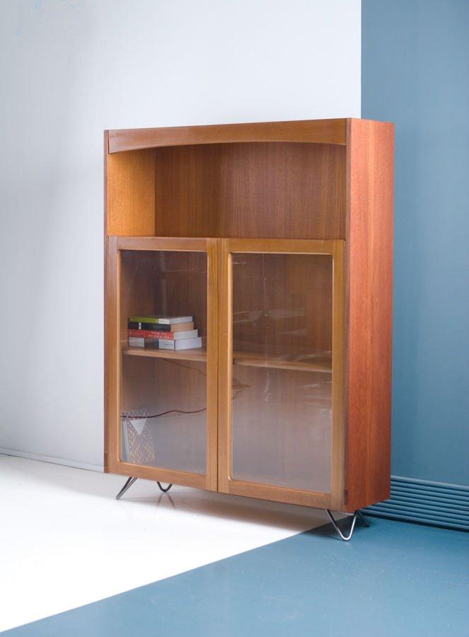 Biblioth que vitr e nathan retro vintage mid century en teck en vente sur pamono - Bibliotheque en teck ...