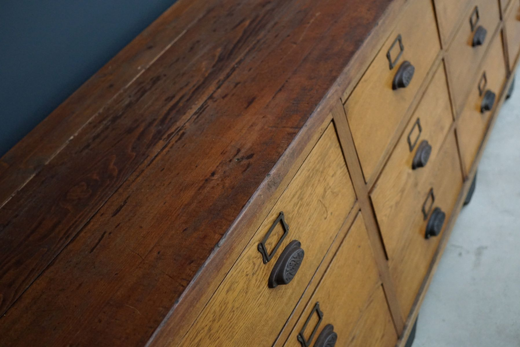 Large Vintage French Oak Apothecary Cabinet With Cast Iron