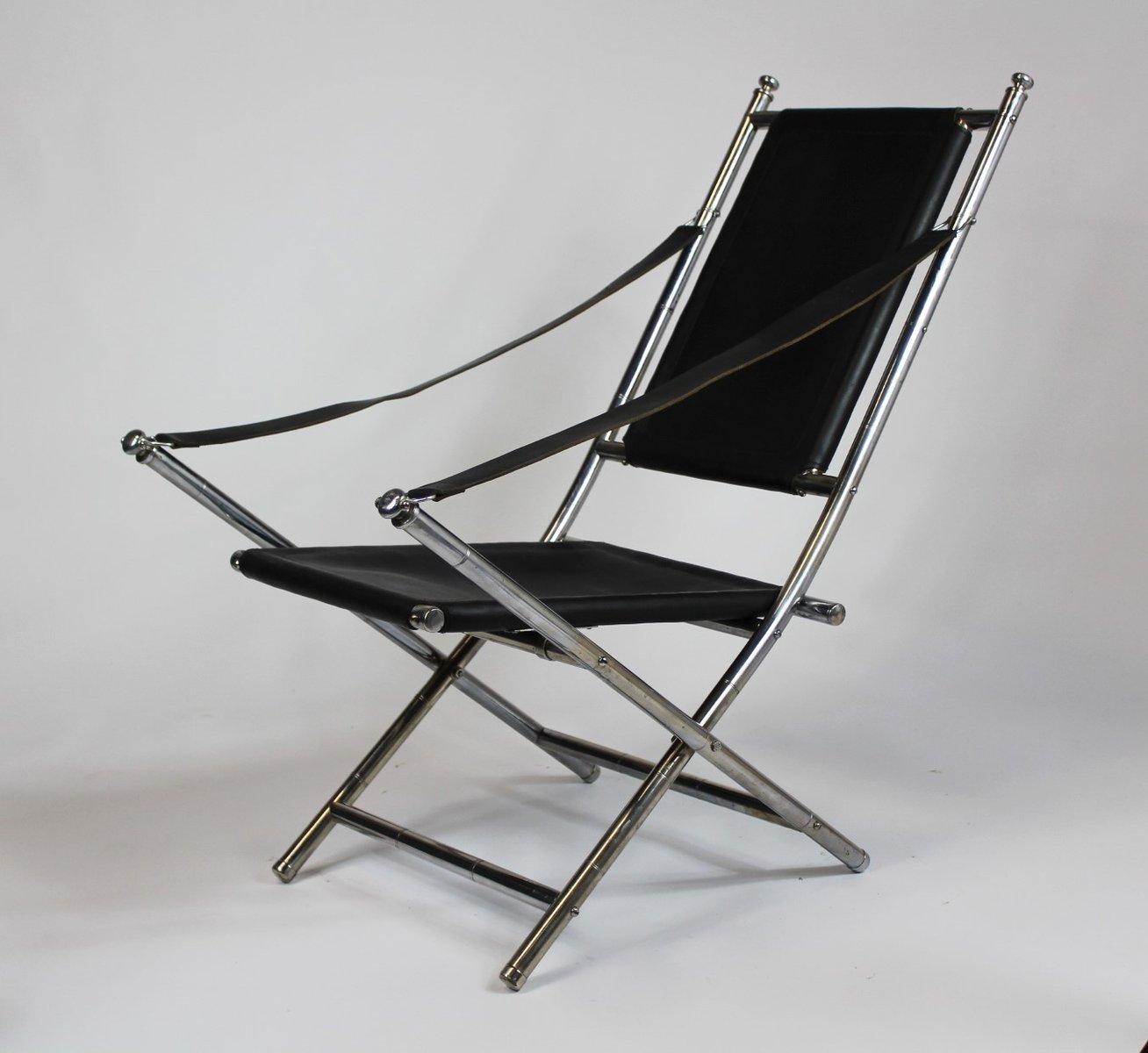 Chaise de campagne en acier cuir 1960s en vente sur pamono - Chaise de campagne ...