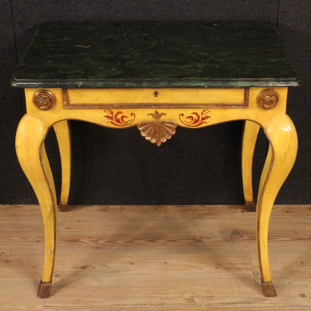 Italian Lacquered, Gilded U0026 Painted Side Table, 1950s