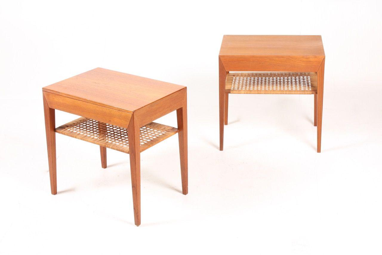 Tables de nuit en teck par serverin hansen pour haslev - Table de nuit en anglais ...