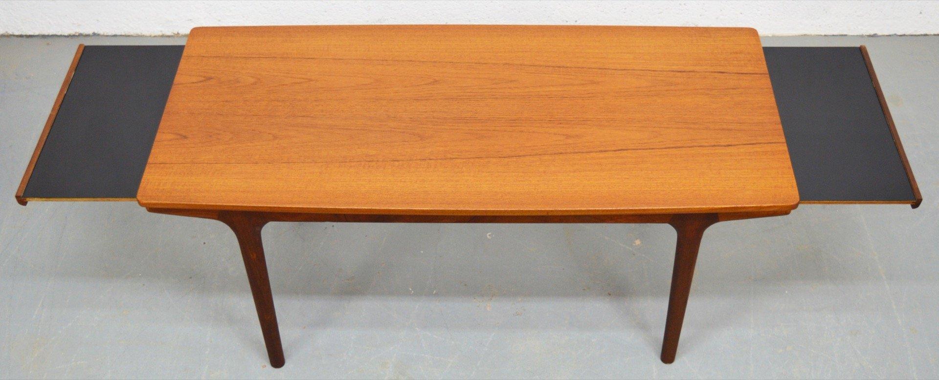 Table basse mid century extensible en teck et m lamine par for Table extensible en solde