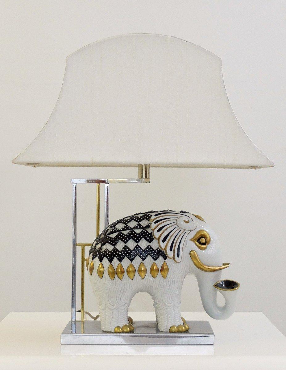 Stacked elephant lamp - Mangani Porcelain Elephant Table Lamp 1950s