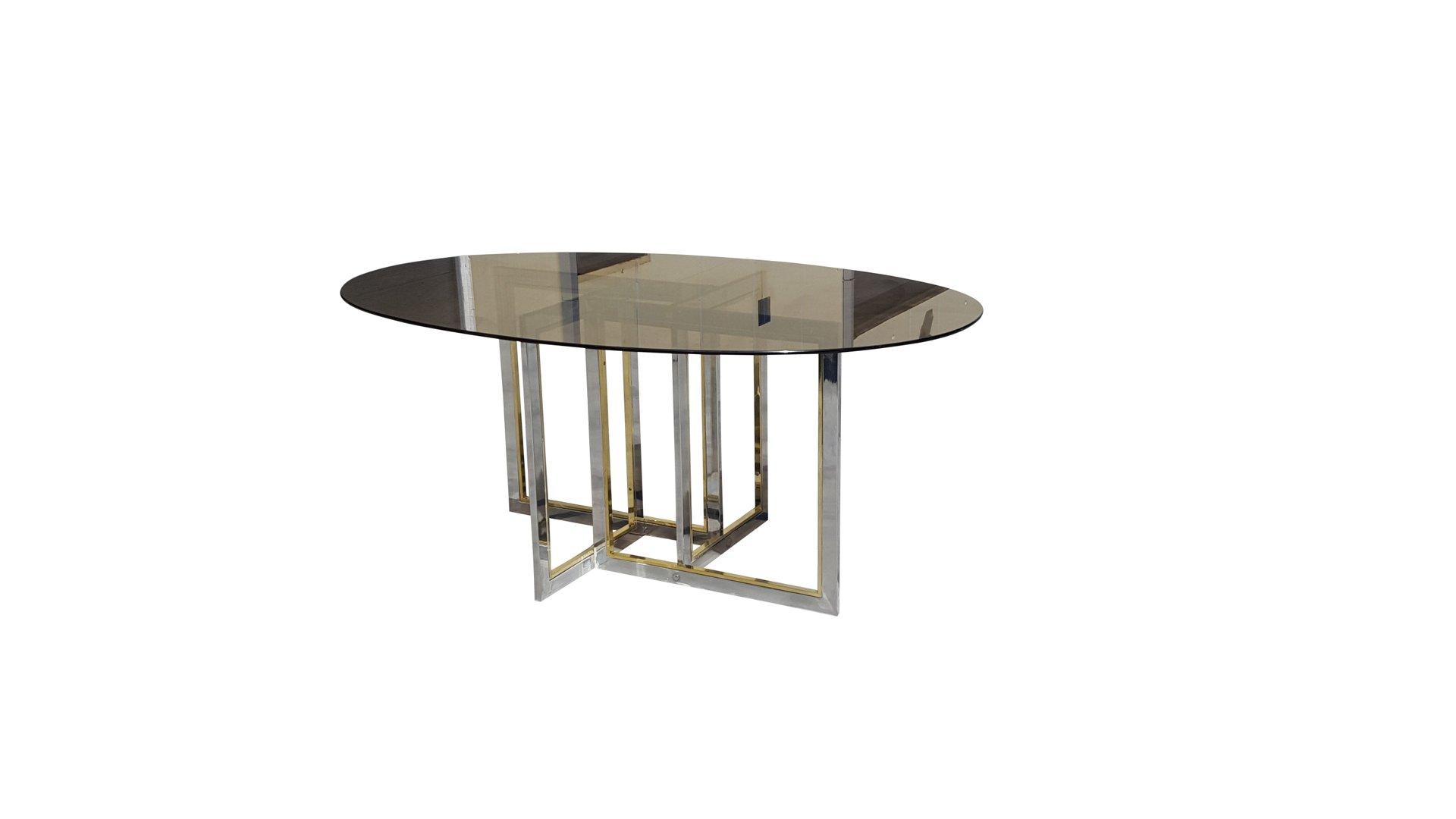 Table de salle manger mid century en laiton chrome et for Salle a manger table en verre