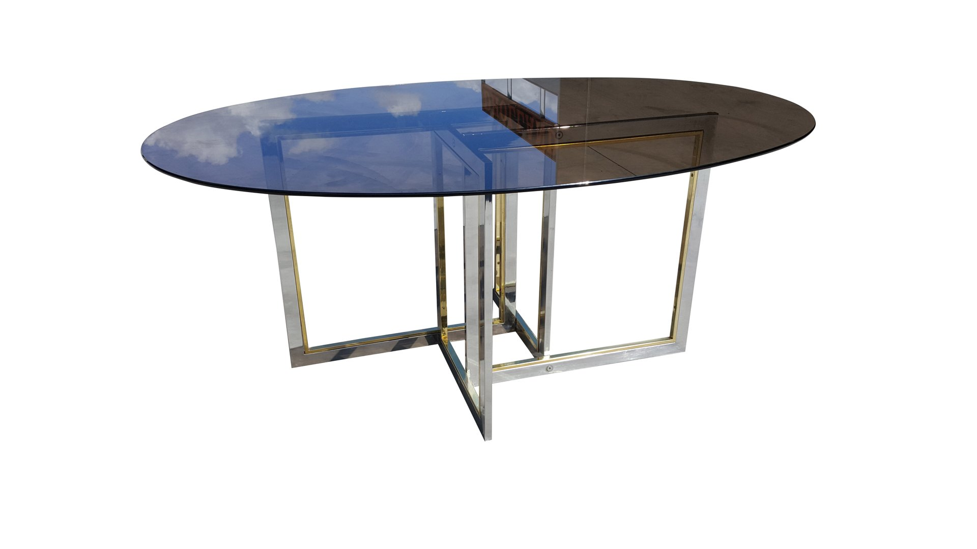 midcentury brass chrome and glass dining table by willy rizzo  - midcentury brass chrome and glass dining table by willy rizzo