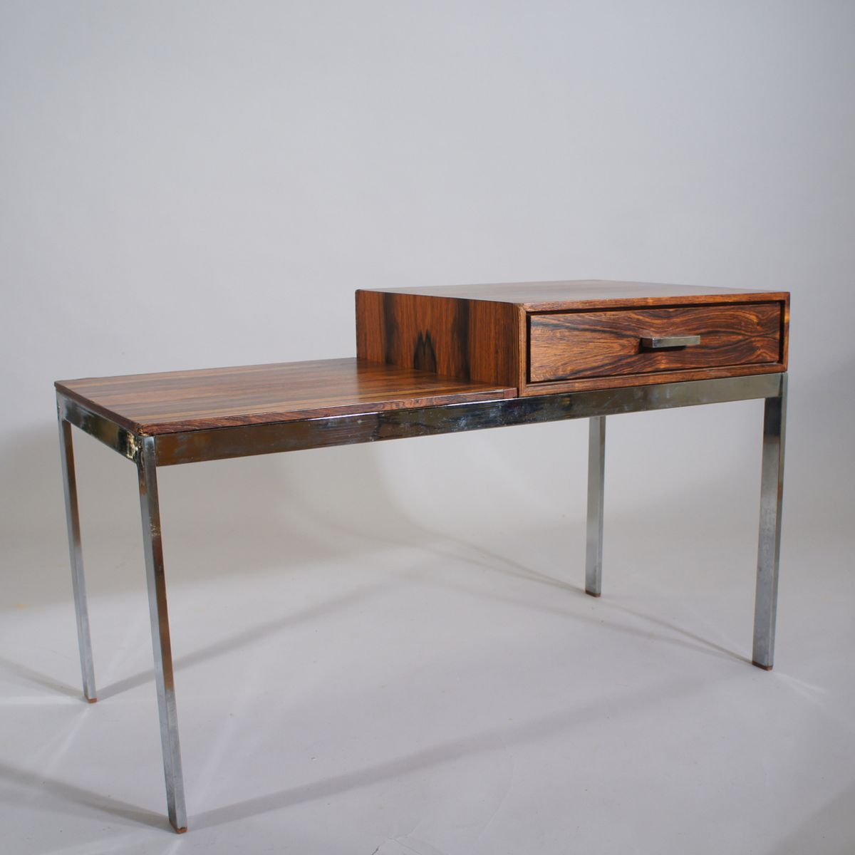 Mid century metal and wood alpacka bench with drawer by for Ikea metal cart with drawers