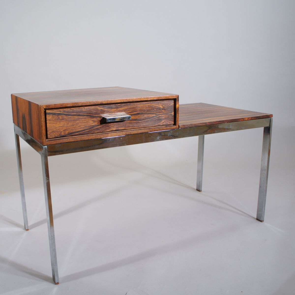 Mid Century Metal And Wood Alpacka Bench With Drawer By Gillis Lundgren For Ikea 1960s For Sale