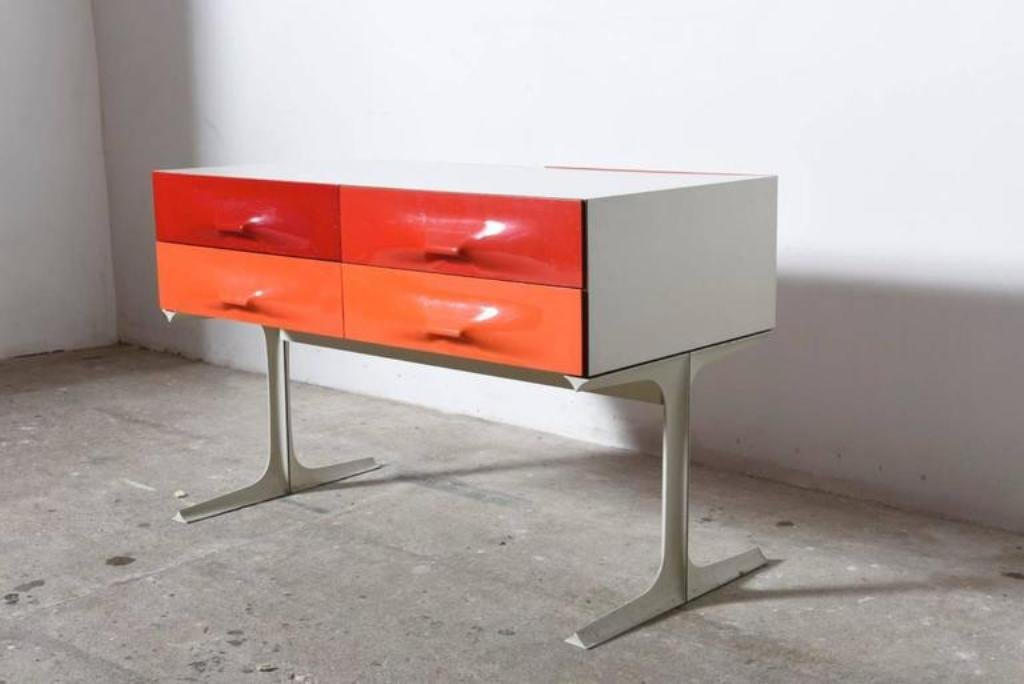 Red & Orange Free Standing Low Two-Sided Cabinet by Raymond Loewy ...