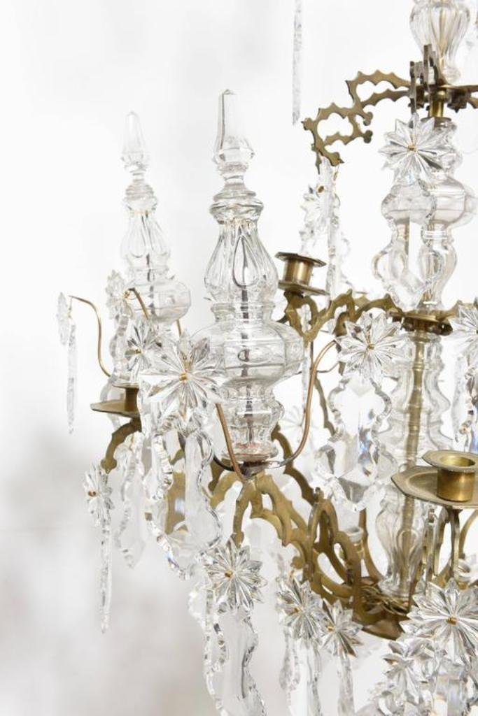 Antique French Baguès Doré Bronze and Crystal Chandelier for sale at Pamono - Antique French Baguès Doré Bronze And Crystal Chandelier For Sale