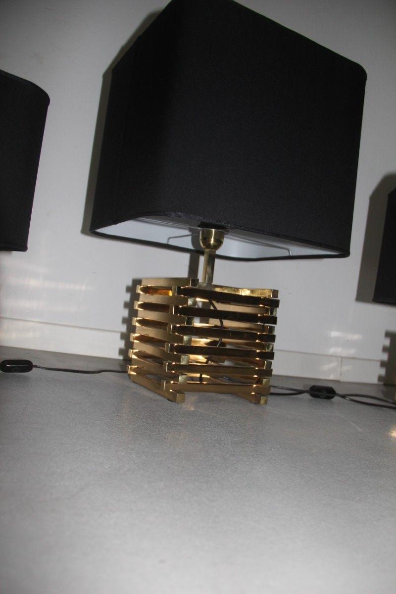 moderne triptych lampen aus messing 1970er 3er set bei. Black Bedroom Furniture Sets. Home Design Ideas