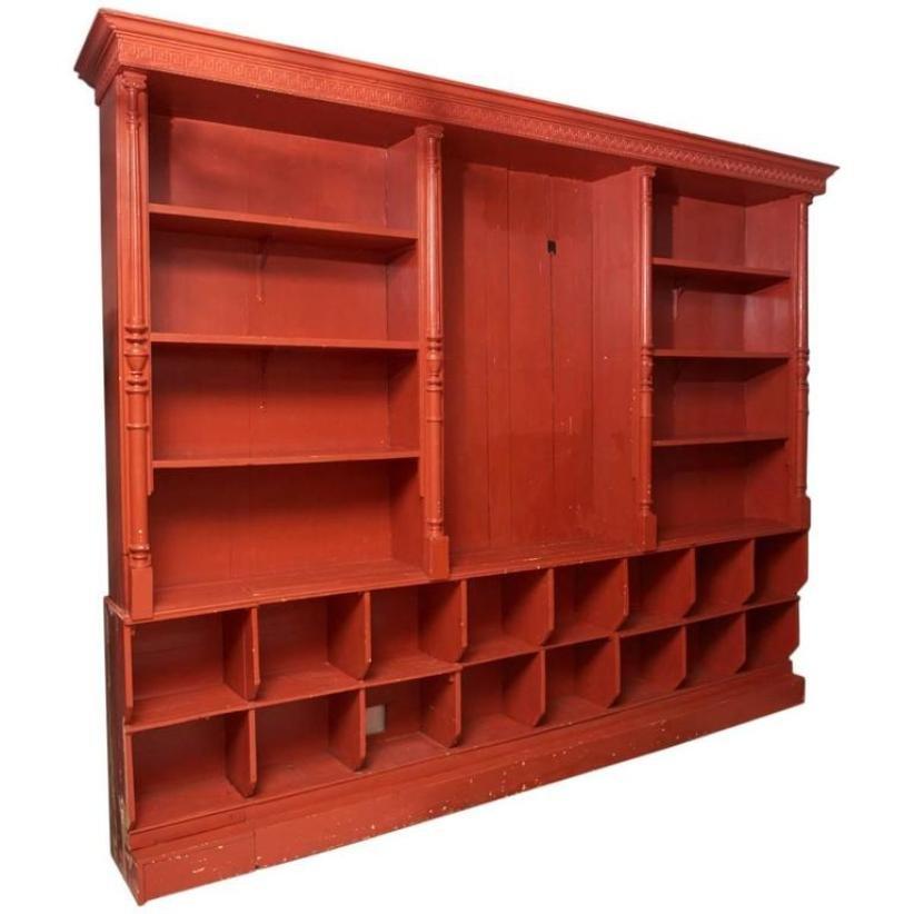 antikes gro es belgisches rotes regal bei pamono kaufen. Black Bedroom Furniture Sets. Home Design Ideas