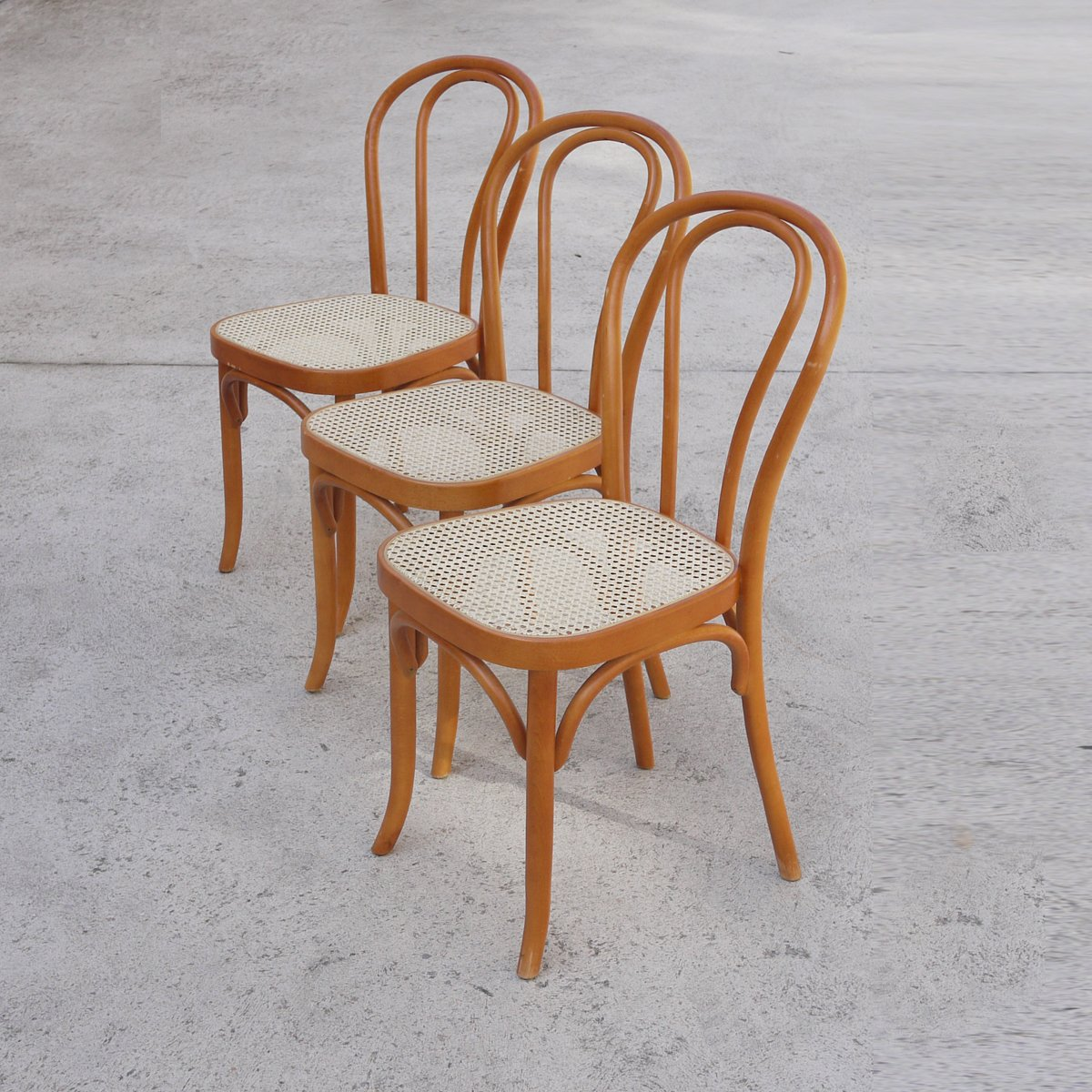 Vintage Bentwood Rattan Dining Chairs Set Of 3 For Sale