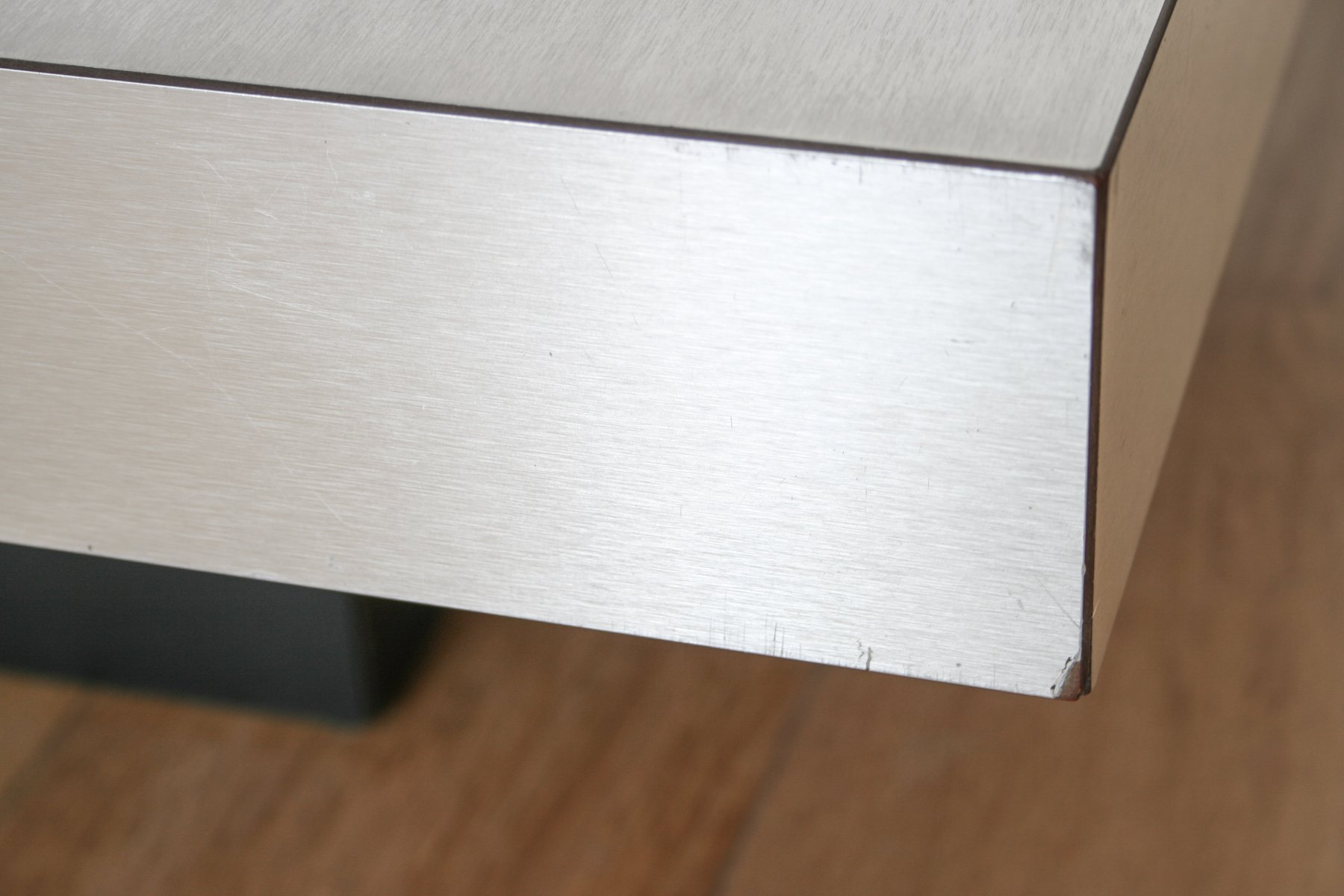 Mid Century Graphic Brushed Aluminum Coffee Table by Travail