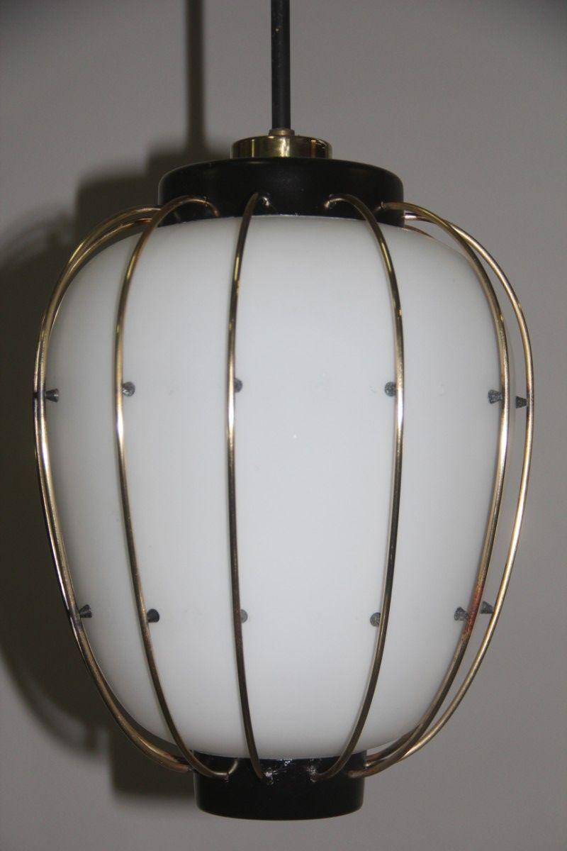 Italienische mid century deckenlampe aus messing und for Deckenlampe messing