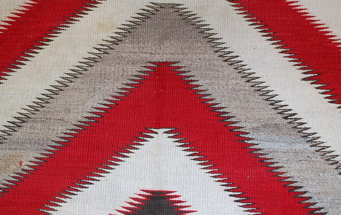 Antique Handmade Red And Gray Native American Navajo Rug