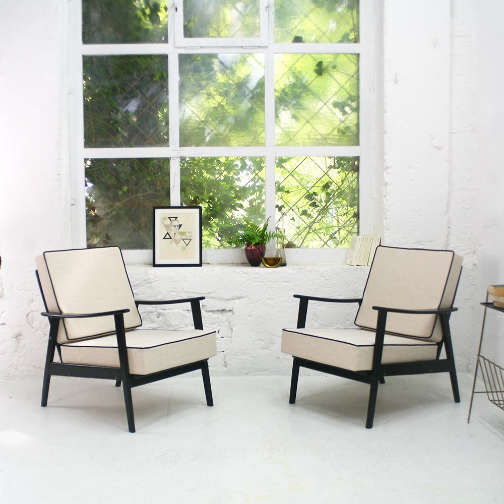 mid century sessel in schwarz creme 1960er bei pamono kaufen. Black Bedroom Furniture Sets. Home Design Ideas