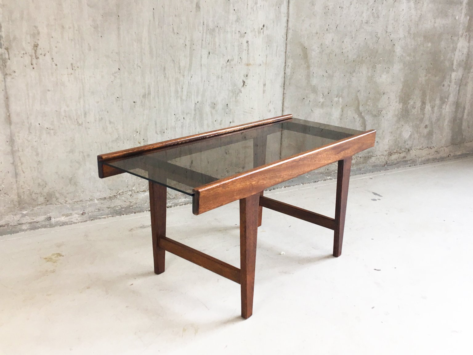 Mid Century Solid Oak And Glass Coffee Table 1960s For Sale At Pamono