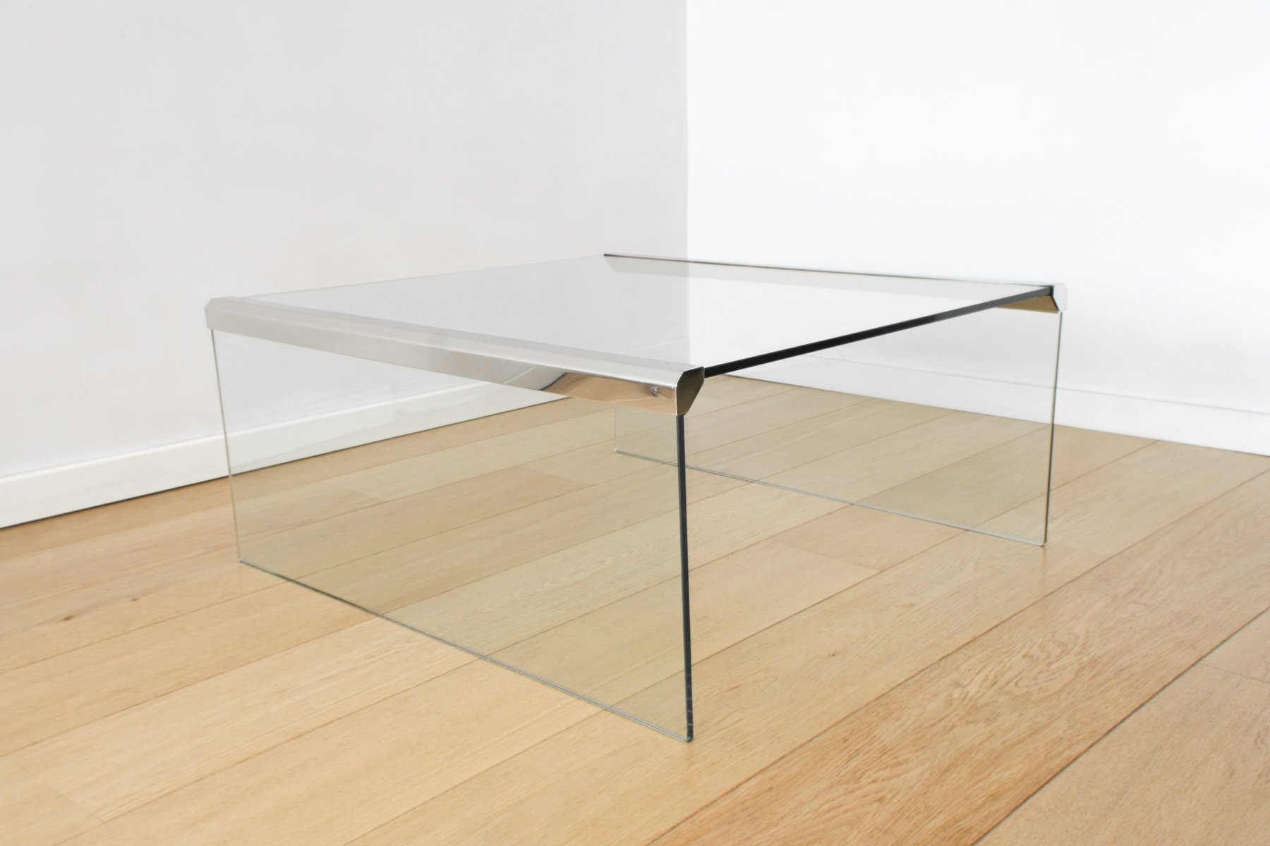 Clear Glass Coffee Table By Pierangelo Gallotti For Gallotti U0026 Radice, 1980s