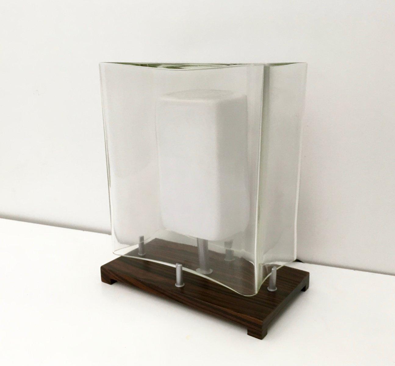 italienische vintage tischlampe aus palisander und mundgeblasenem glas 1980er bei pamono kaufen. Black Bedroom Furniture Sets. Home Design Ideas