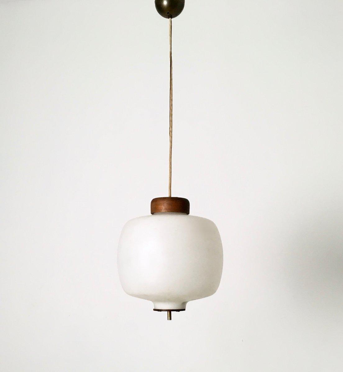 italienische h ngelampe aus messing glas teak 1950er. Black Bedroom Furniture Sets. Home Design Ideas