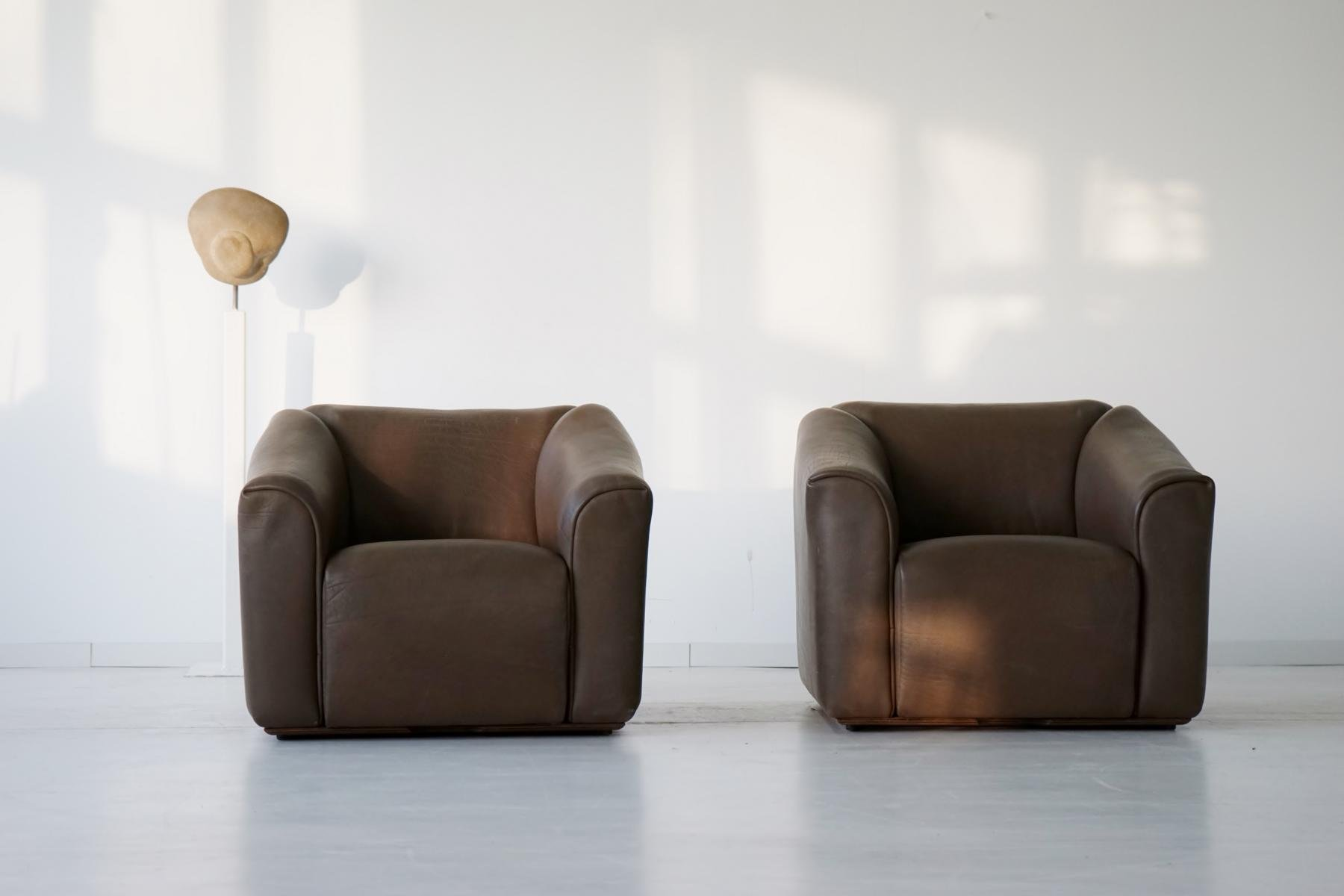 vintage ds 47 neck leather armchairs from de sede set of 2 for sale at pamono. Black Bedroom Furniture Sets. Home Design Ideas
