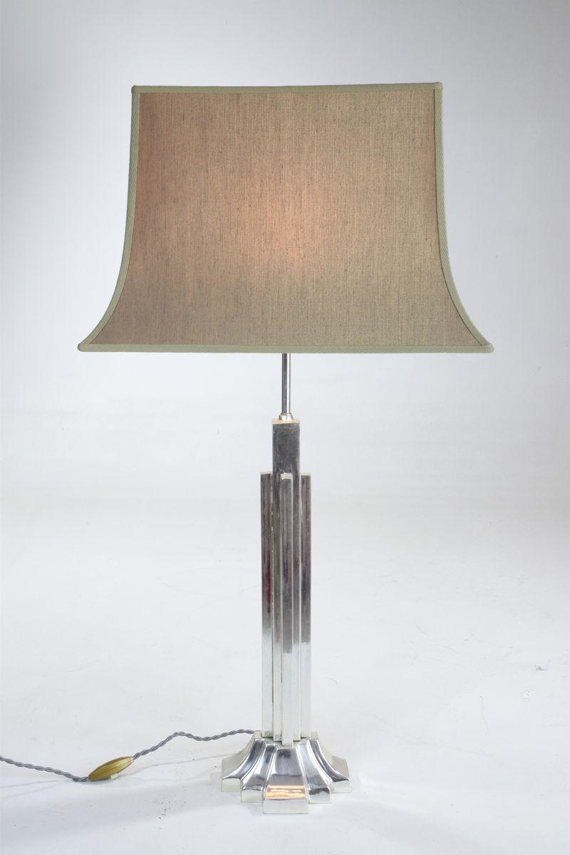 art deco lampen aus versilbertem messing 1930er 2er set. Black Bedroom Furniture Sets. Home Design Ideas