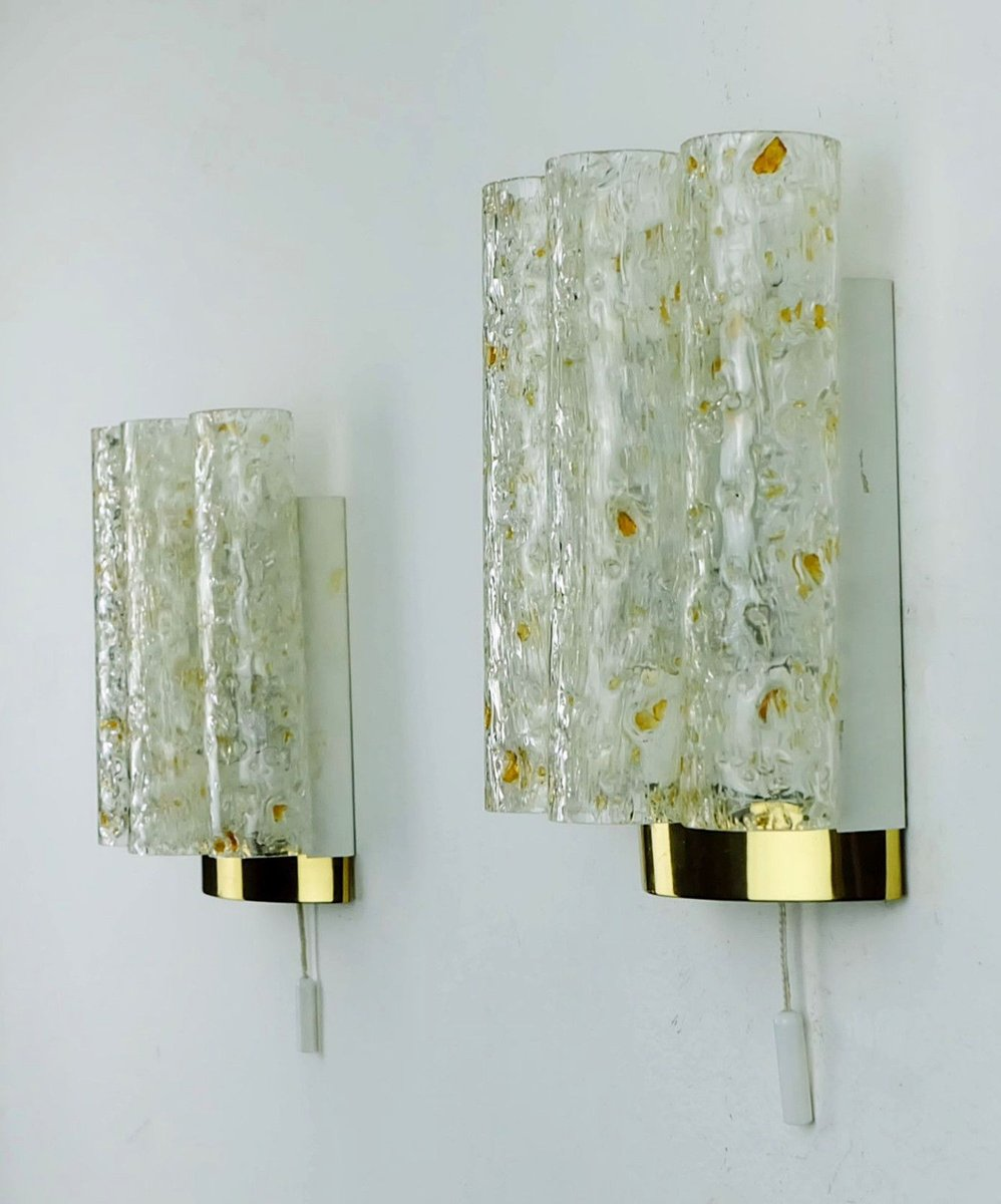 Vintage Glass Wall Lamps : Vintage Wall Lamps with Four Glass Tubes from Doria, Set of 2 for sale at Pamono